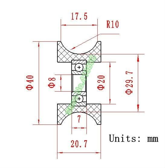 U-образный шаровой подшипник 0840UU BU0840 608ZZ 608Z 608 оконный и дверной подшипник 8x40x20,7 мм направляющий шкив герметичный рельс