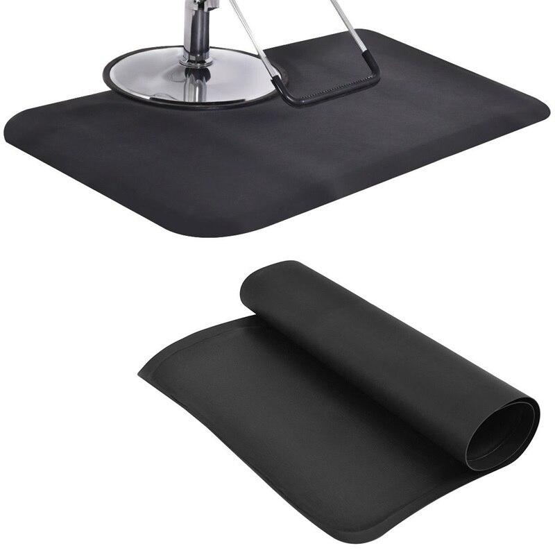 Noir Rectangle Salon de coiffure tapis de sol anti-dérapant étanche bureau maison chaise tapis HB84663 - 4