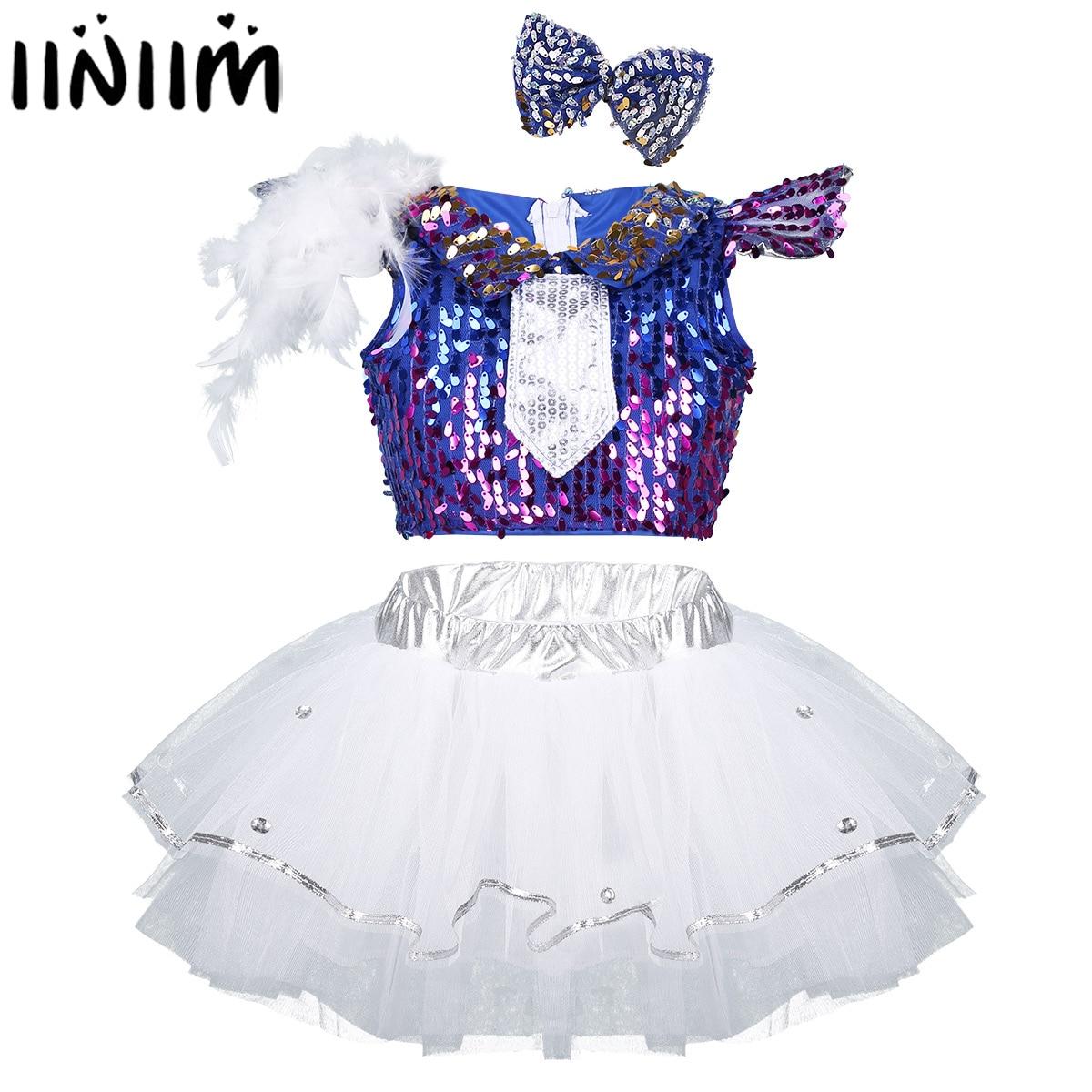 iiniim Kids Girls Jazz Dancewear Shiny Sequins Dancing Costumes Dress Up Feather Cap Sleeves Crop Top with Tutu Skirts Hair Clip