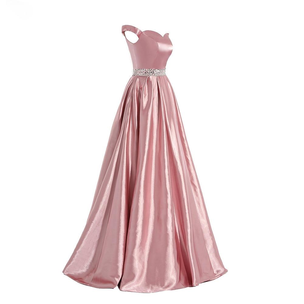 elegant evening dress long Women's Real Photos Blush Colored Satin A Line Prom Dress Sexy cap sleeve formal dress Vestido
