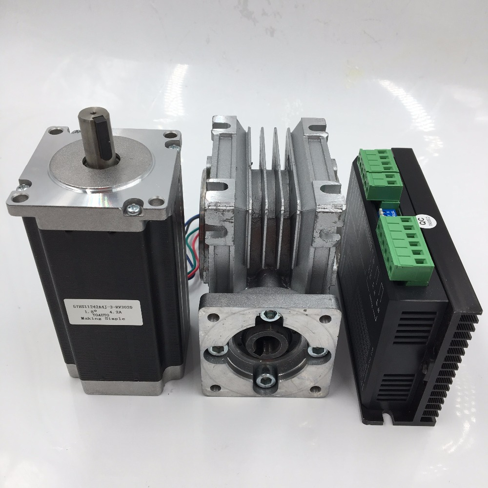 Nema23 2ph Stepper Motor L76mm 3A 4Lead + 30:1 57mm Worm Reducer Gearbox Speed Reducer+ Driver Kit nema24 3nm 425oz in integrated closed loop stepper motor with driver 36vdc jmc ihss60 36 30