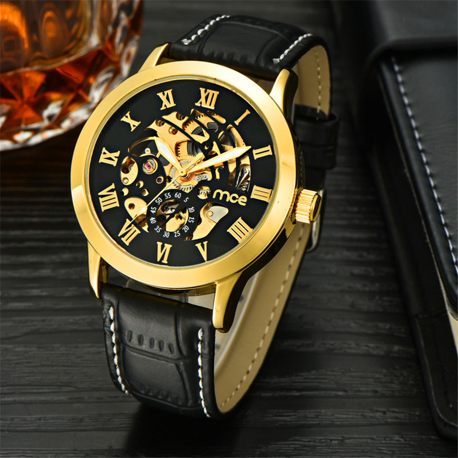 MCE Automatic Mechanical Watches Mens Black Gold Wrist Watch Men Military Skeleton Clock Business Mens Watches Top Brand luxury mce luxury fashion gold watch women high quality skeleton mechanical watch full stainless steel water resistant wrist watches