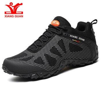 Xiang Guan man outdoor sports shoes athletic light weight hiking shoes women climbing sneakers Black Outdoor Hiking Shoes 36-45#