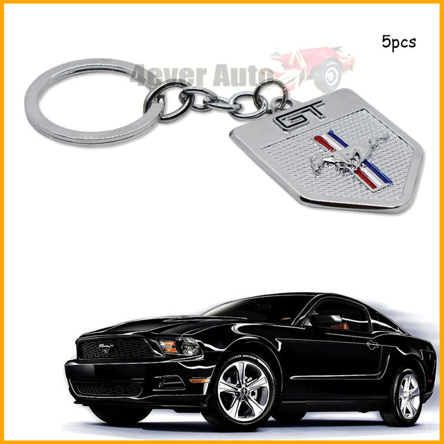 (5) Отделка Крома и Пони Лошадь Брелок Брелок Кольцо Брелок Для Mustang GT 500 Cobra
