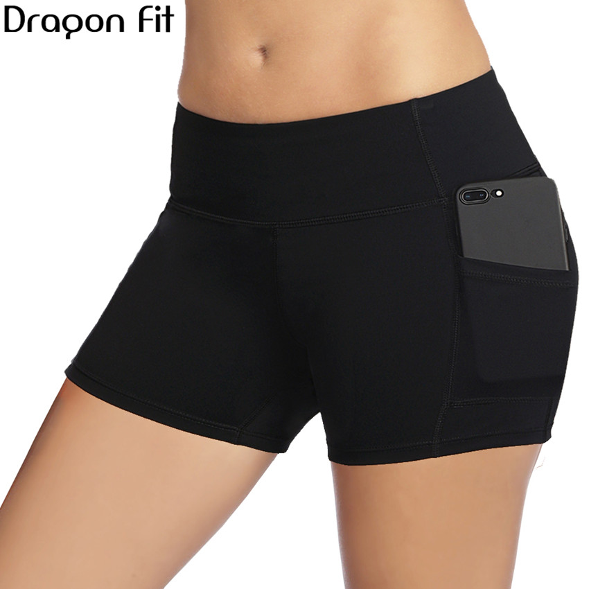 Dragon Fit New Workout Sport Shorts Women Summer Elastic Waist Quick Dry Gym Yoga Shorts Female Fitness Running Shorts Female chic mid waist button design ripped denim shorts for women