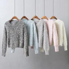 Las mujeres Cordón de Fluffy Sweater Top de cuello de punto suéter Delgado  2018 otoño moda invierno cálido mujer Casual suéteres c77514324955