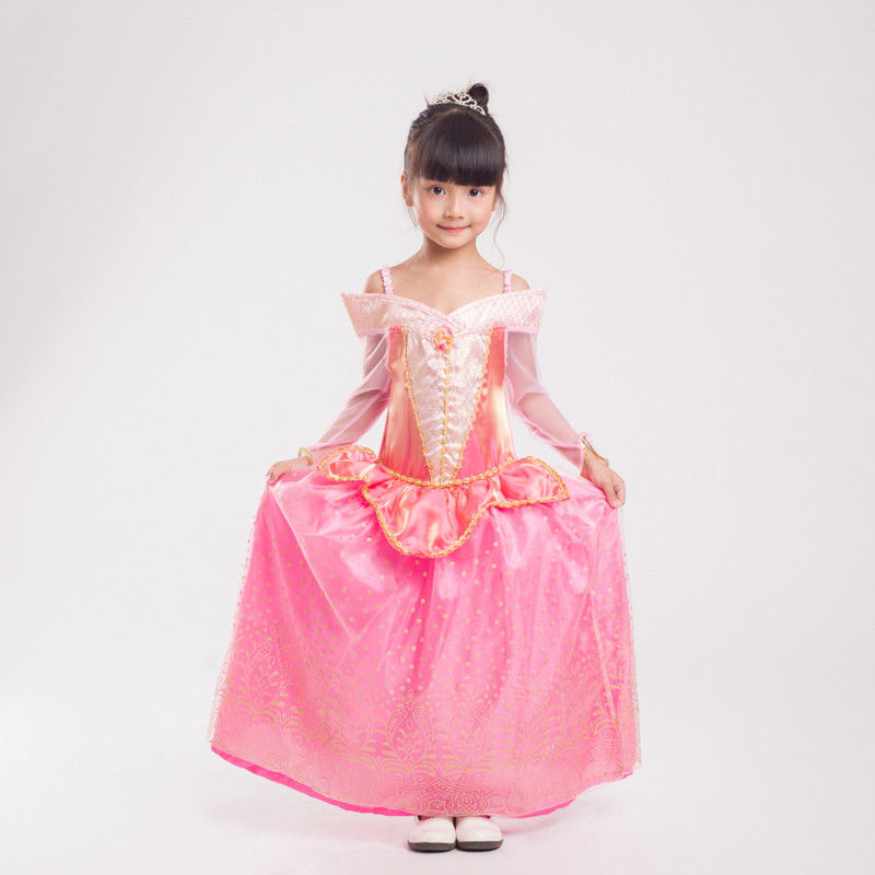 Childrens Pink Aurora Dress Sleeping Princess Fancy Dress Costume Book Week