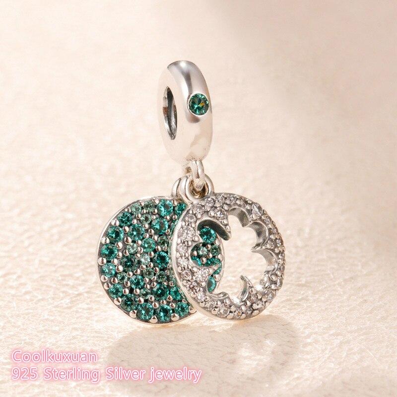 2019 Spring 100% 925 Sterling Silver Dazzling Clover Dangle Charm Green Crystal Beads Fits Original Pandora Bracelets Jewelry