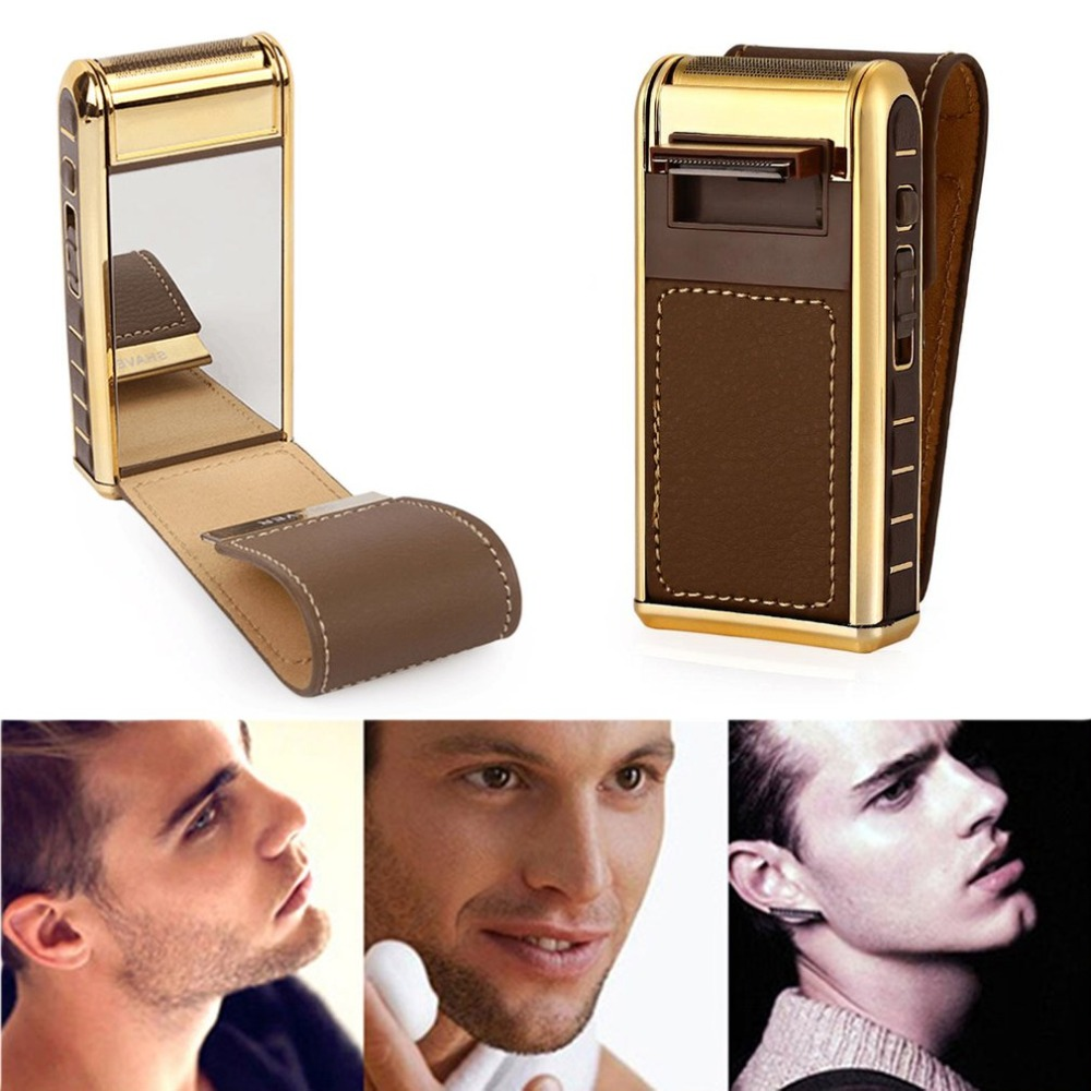 2 In 1 Electric Shaver Rechargeable Men Shaving Machine Vintage Leather Reciprocating Beard Trimmer Electric Razors 35D