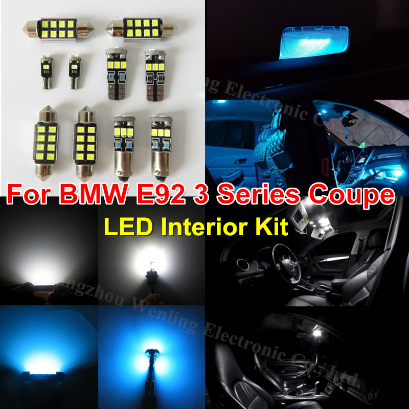 WLJH 18x Ice Blue Pure White Lighting Car LED Interior Kit for BMW E92 Coupe 3 Series 328i 335i 335d 335i M3 2006-2013 Canbus car dvd player accessories external digital tv box dvb t2 dual tuner receiver box set