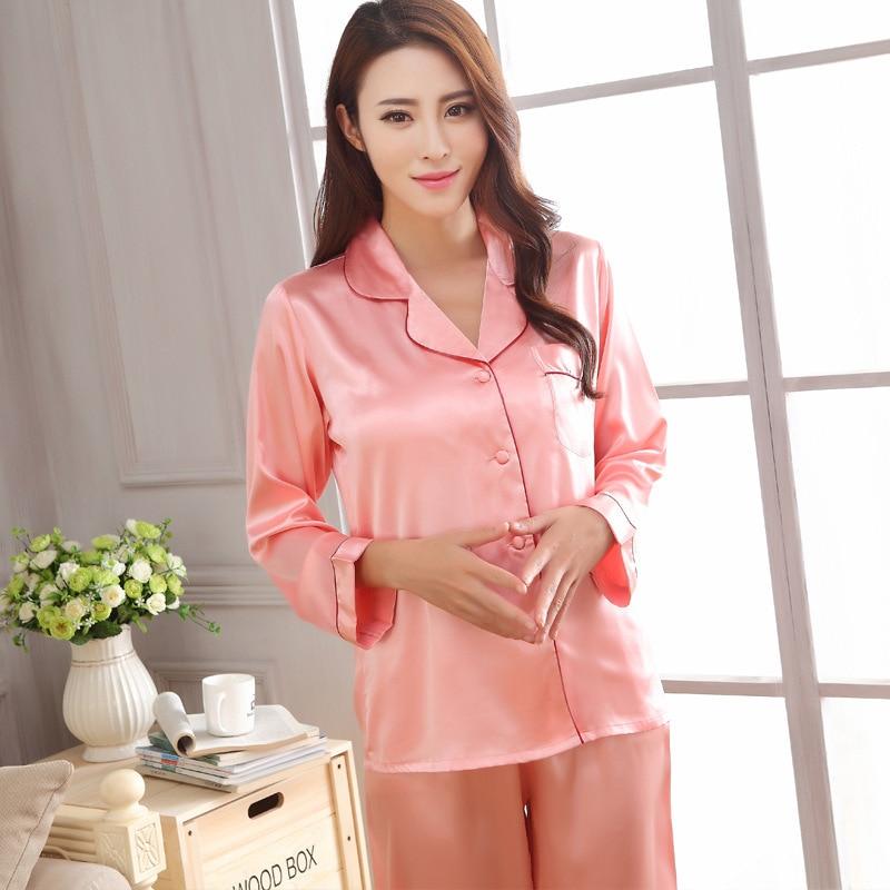 Autumn Women Satin Pajama Sets Long Sleeve Sleepwear Set 2-Pieces Plus Size V-Neck Breathable Pyjamas 6 Colors