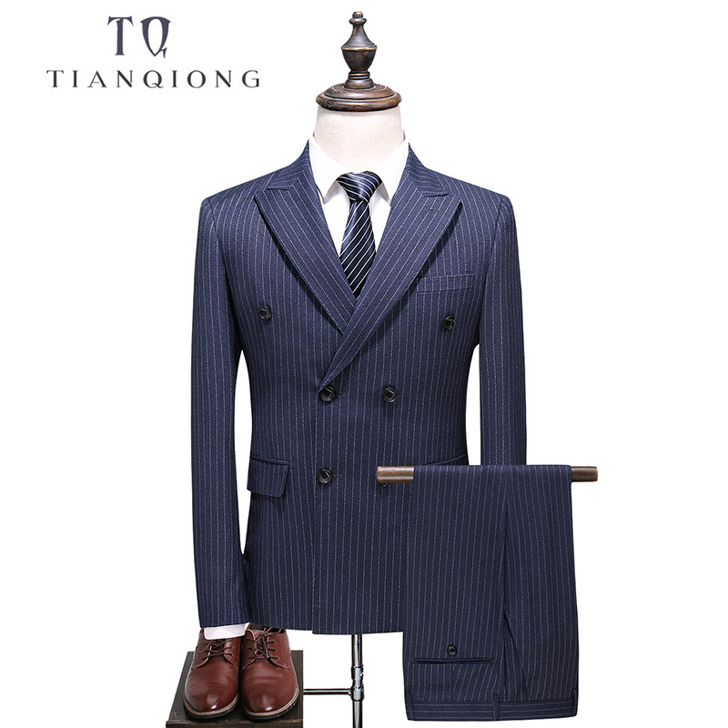 TIAN QIONG Mens Double Breasted Suit 2018 Slim Fit Vertical Striped Suit Men 5XL Plus Size Luxury Wedding Suits Formal Wear