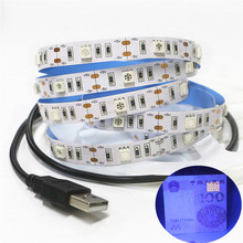 USB DC5V 5050 UV Ultraviolet purple Strip lights 30led/m Non waterproof USB 5V blacklight UV tape lamp for DJ Fluorescence party