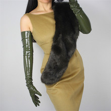 2019 Woman's Gloves Patent Leather PU Gloves Female Army Green Simulation Leather Bright Leather Dance Party Cosplay P1370-10