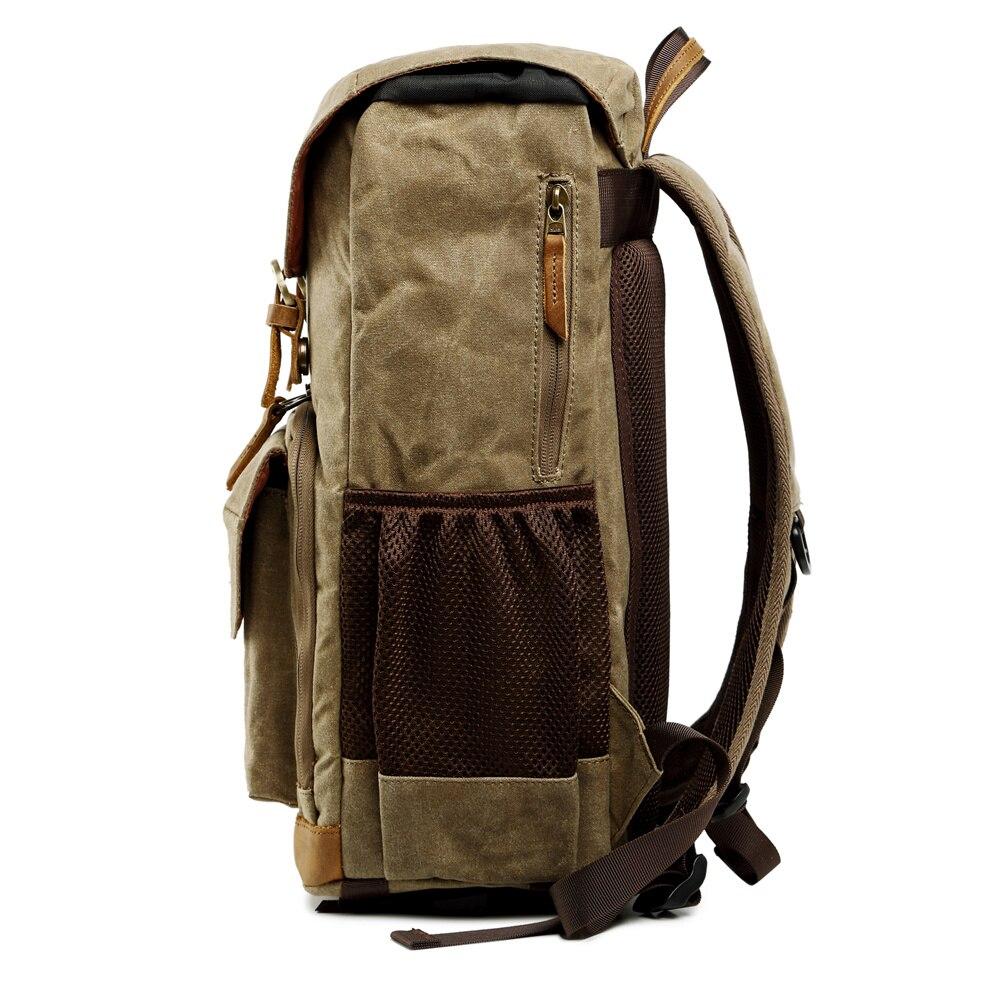 Toile étanche extérieure à la mode Vintage DSLR sac à dos hommes femmes photographie sac à bandoulière pour Canon Nikon Sony numérique - 4