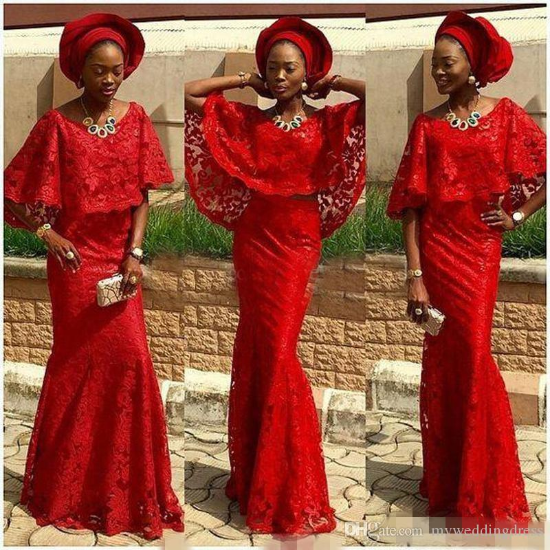 2017 Mode Africaine De Bal Robes De Soirée Cap Manches Rouge Dentelle  Nigeria Sirène Aso Ebi