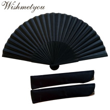 WISHMETYOU Chinese Style Pattern Folding Fans Black Vintage Hand Fan Dance Wedding Party Favor Lace Solid Color fan Gifts