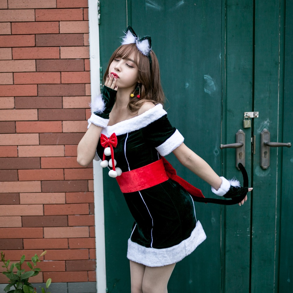 Sexy Cat New Year Christmas Costume for Women Green Sexy Off Shoulder Christmas Dress Female Adult Santa Clause Xmas Cosplay