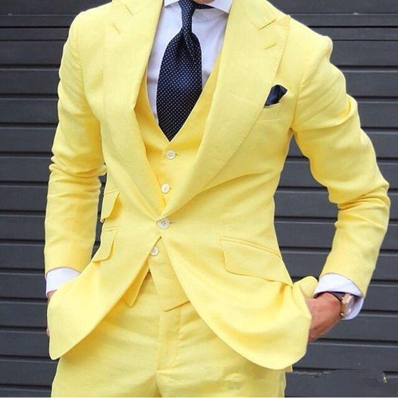Yellow Suit 3 Piece Slim Fit Party Tuxedos Men Wedding Suits Groomsman Suits And office suite (jacket + pants + vest) custom 2