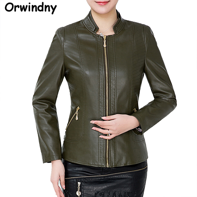 298188eb57992 Mother Plus Size 6XL Spring Leather Clothing Outerwear Mandarin Collar  Short Autumn Army Green Women s Leather Jacket Coat
