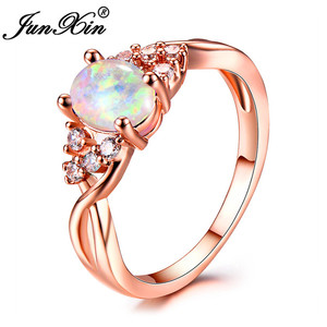 JUNXIN Luxury Female White/Purple/Blue Fire Opal Rings For Women Rose Gold Filled Zircon Oval Birthstone Crossed Ring Lover Gift(China)