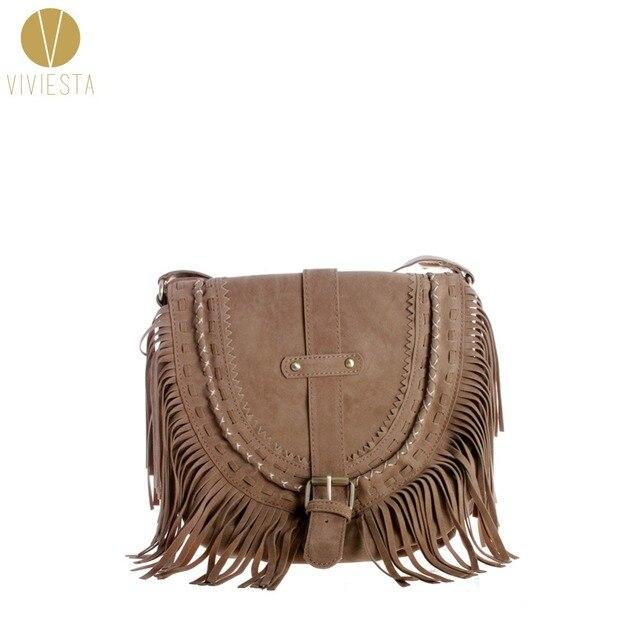 492dea716e SUEDE FOLK FRINGE CROSS-BODY FLAP BAG - Women s Vintage Bohemian Casual  Faux Leather Brogue Tassel Saddle Handbag Bolsa