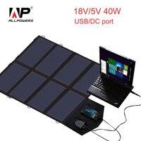 Allpowers 18 В 5 В 40 Вт Солнечный Зарядное устройство Портативный Панели солнечные Зарядное устройство для Samusng таблетки мобильные телефоны и мно