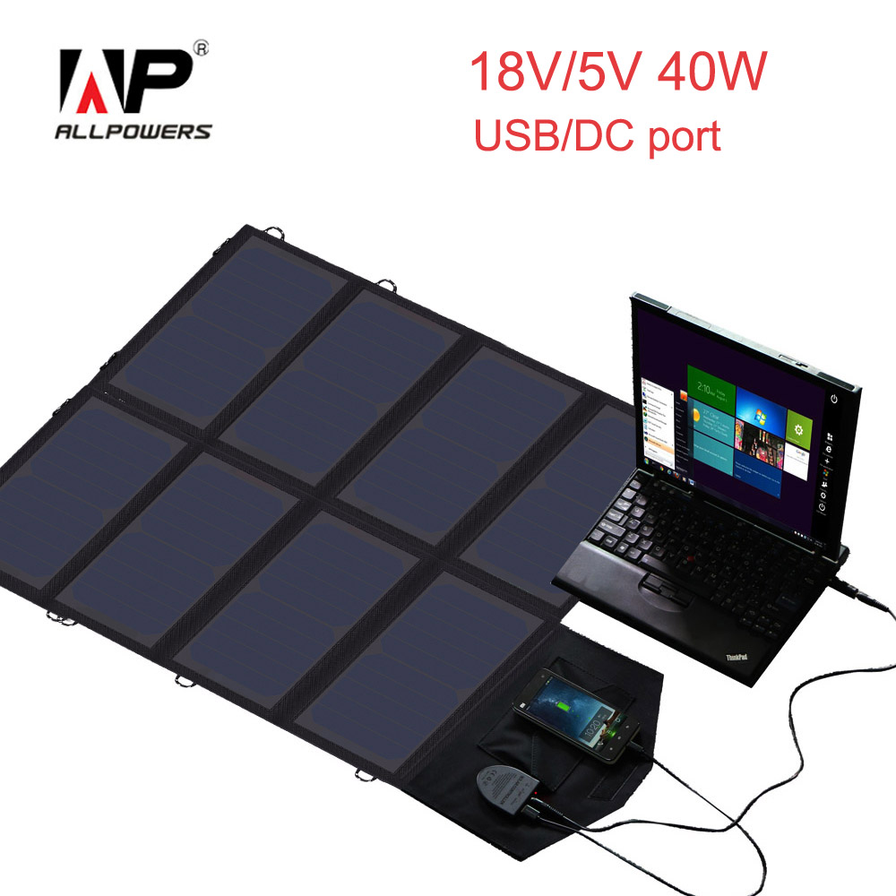 ALLPOWERS 18V 5V 40W Solar Charger Portable Solar Panel Charger for Samusng tablets mobile phones and more