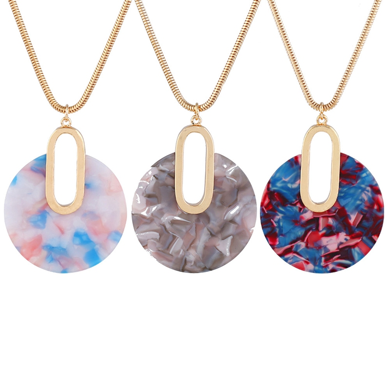Fashion Spring Geometry Acetate Plate&Wood Pendant Long Chain Necklace For Women New Design Statement Sweater Jewelry