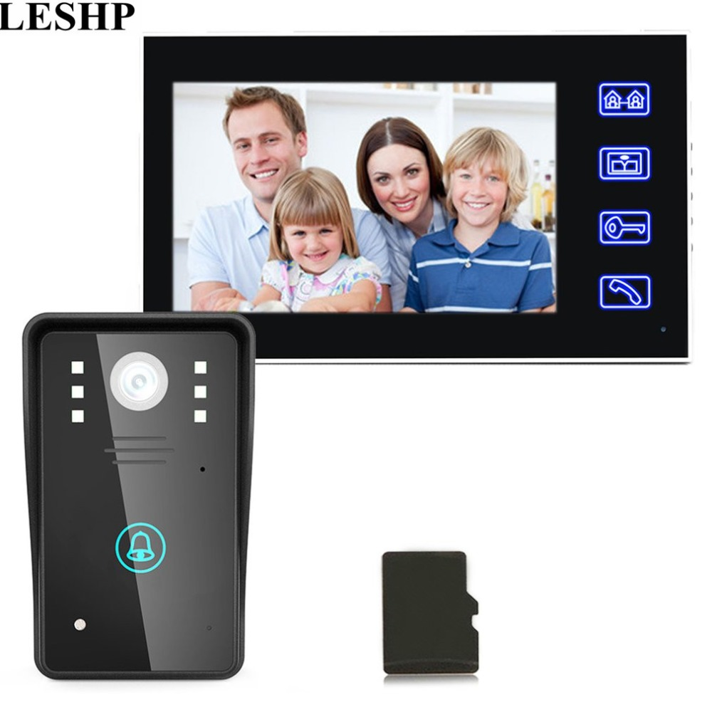 LESHP 7inch Recording Video Door Phone Intercom Doorbell With 8G TF Card Touch Button Remote Unlock Night Vision Security Camera ...