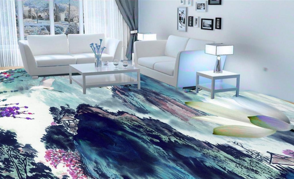 custom 3d floor Chinese feng shui ink 3d floor wallpaper for living room photo wall mural 3d floor tiles luxury wallpaper free shipping chinese style bamboo water floor sticker high quality 3d custom mural non slip waterproof floor wallpaper