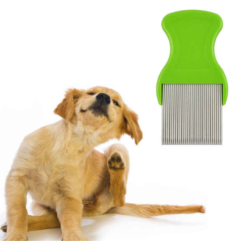 Mascota de los piojos limpiador peine gato perro pulgas cepillo de limpieza Anti pulgas perro peine de acero inoxidable peine para piojos para gatos suministros para mascotas perros