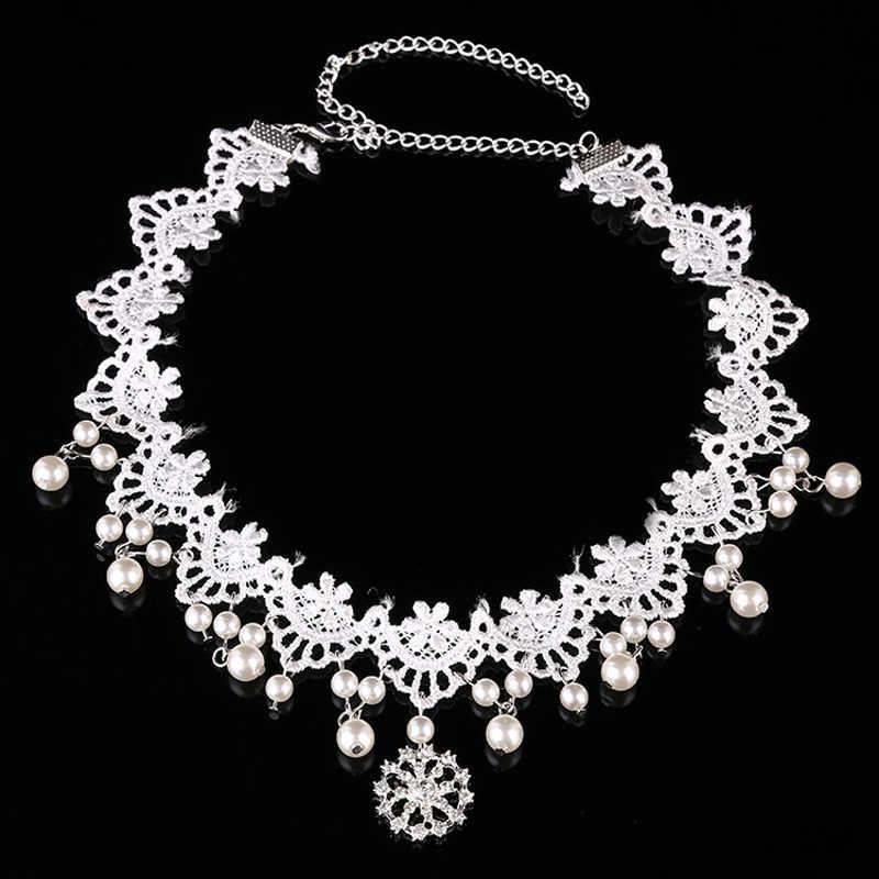 Tocado de novia de encaje blanco Flor del pelo perla dama de honor cristal frente tocado de novia cadena de la cabeza para joyería de las mujeres