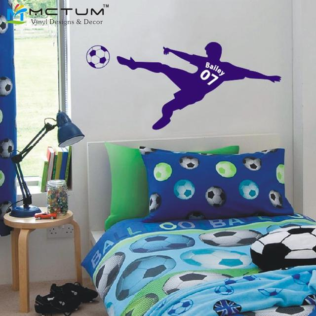 World Map Football Soccer Ball Personalized Name & Number Vinyl Wall Decal Poster