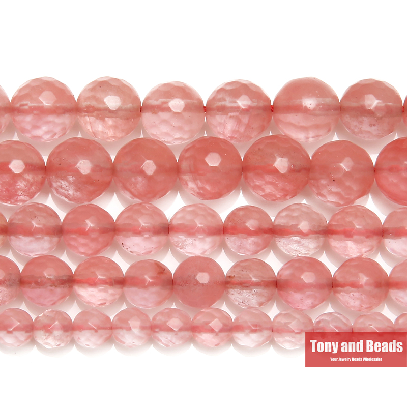 US $1 7 36% OFF|Free Shipping Faceted Pink Cherry Quartz Loose Beads Stone  15