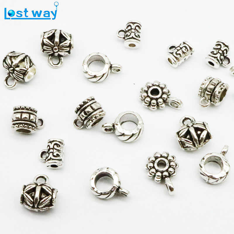 20pcs/40pcs/lot Big Hole Flower Metal Zinc Alloy beads Connectors For Silver Plated Bead Jewelry Making Wholesale Price