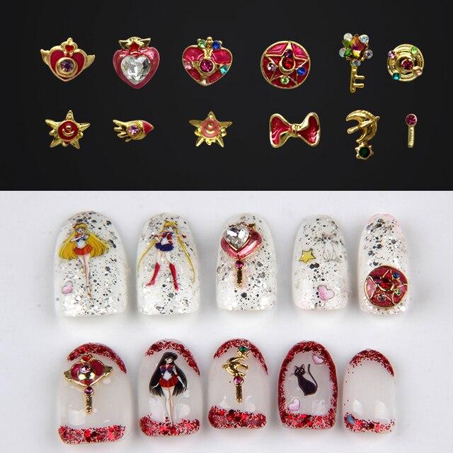 10pcs lot 3D Nail Art Deco Metal Kawaii Sailor Moon Nail Accessories DIY Charm Nail Tools