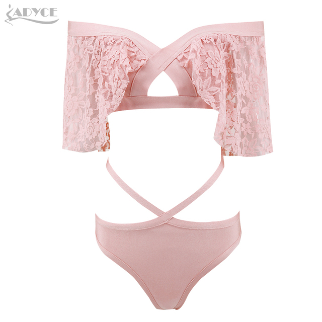 Bandage Bodysuit Pink Black Sexy Lace Hollow Out Bikini Short Sleeve 2018 New Bodycon Bodysuits Beachwear Jumpsuits 4