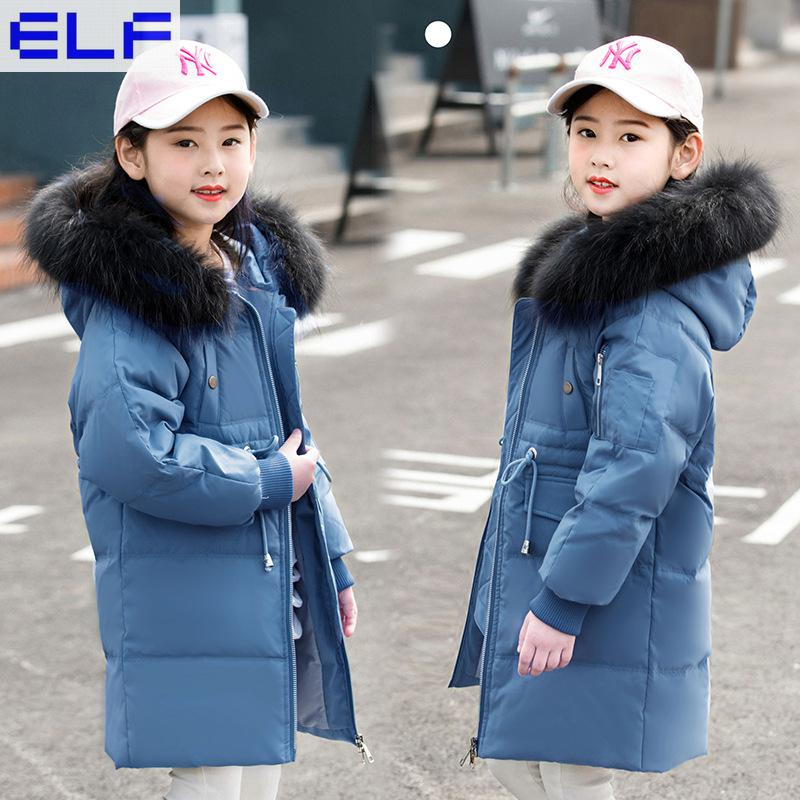 Girls Down Coat Long Children Kids Parka Jackets 2018 Warm Teenage Girls Winter Coats with Big Fur Hooded Size 4 6 8 10 12 new 2018 fashion children winter jackets girls winter coat kids warm hooded long down coats for teenage girls casaco infantil 12