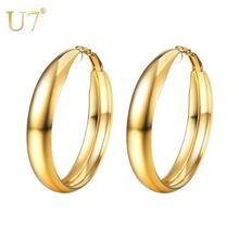 Женские серьги кольца из нержавеющей стали большие размеры 40