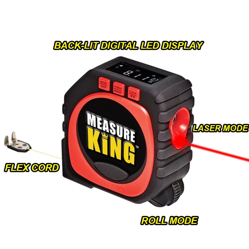 Precise Measure King 3-in-1 Digital Tape Measure String Mode Sonic Mode Roller Mode Universal Furniture Measuring Drop Shipping