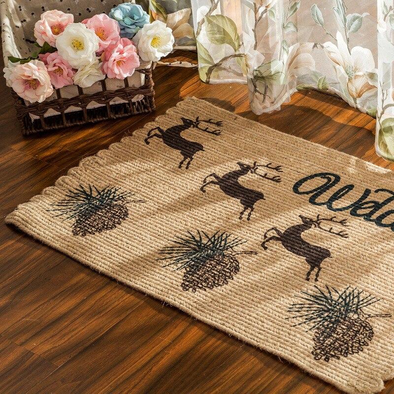 Style nordique tapis de porte en Jute naturel Anti-saut résistant à la saleté cuisine balcon tapis de sol Hallyway bienvenue tapis de sol 50*80 cm - 3