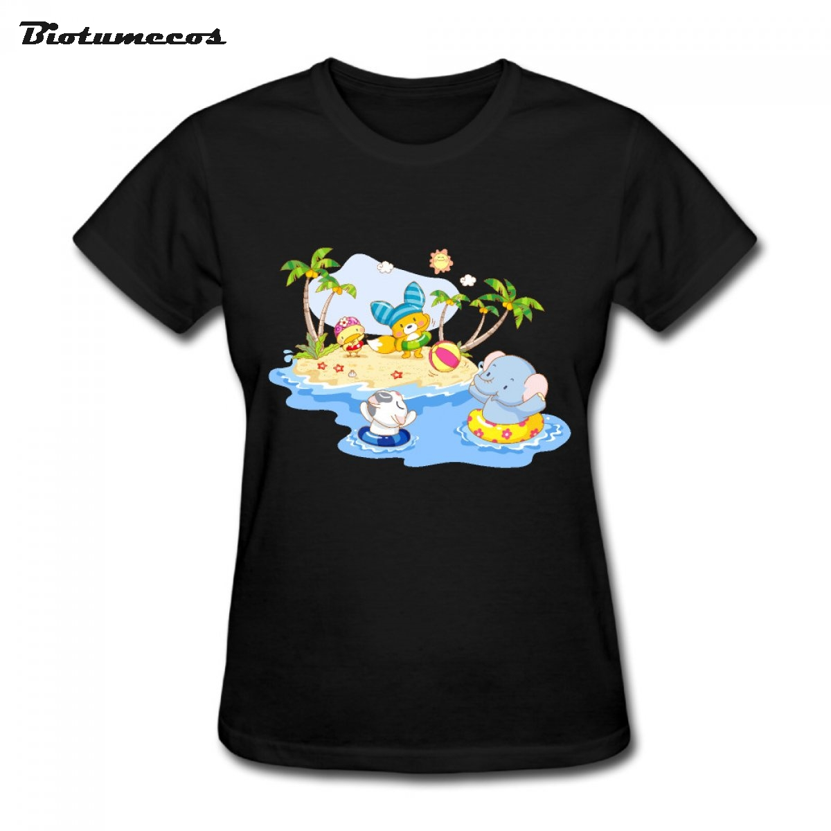 Biotumecos Store Hot Sale Animal Swiming  Women T Shirt Short Sleeve Comfortable Cotton O-neck Casual Girl Shirt WTY033