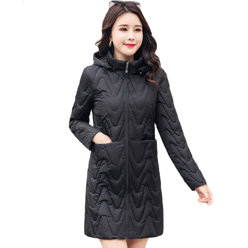 2019 Winter Jacket Women Solid Slim Hooded Cotton Padded Ladies Coat Long Outwear Female   Parka   Mujer Invierno