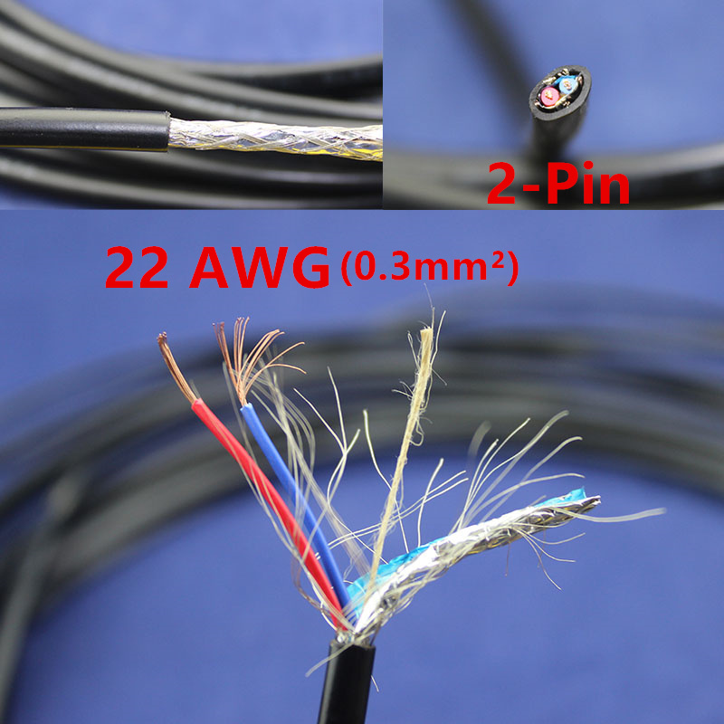 1 meters Copper Electrical Wire 2 Pin 22 AWG Anti interference ...