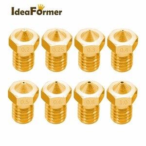 5pcs 3D Printer Accessories V5 V6 M6 threaded Nozzle 0.2 0.25 0.3 0.4 0.5 0.6 0.8 1.0mm for 1.75mm 3.0mm filamnet Full Metal E3D