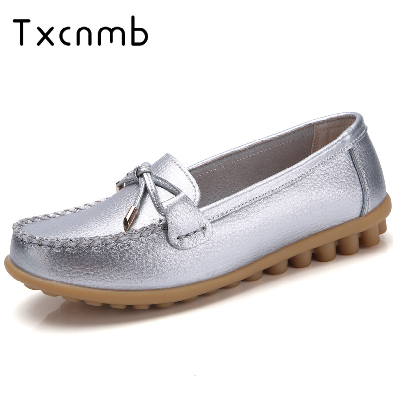 TXCNMB 2019 Summer Shoes Woman Genuine Leather Casual Flat Women Shoes Slip On Women's Loafers Moccasins Shoes Big Size 44 43 42(China)