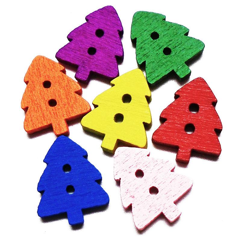 Zieene 50 шт. 100 шт. 200 шт. Смешанные 7 цветов Мультфильм небольшое дерево деревянный Пуговицы Вышивание Скрапбукинг для Рождество ручной работы 15×11 мм