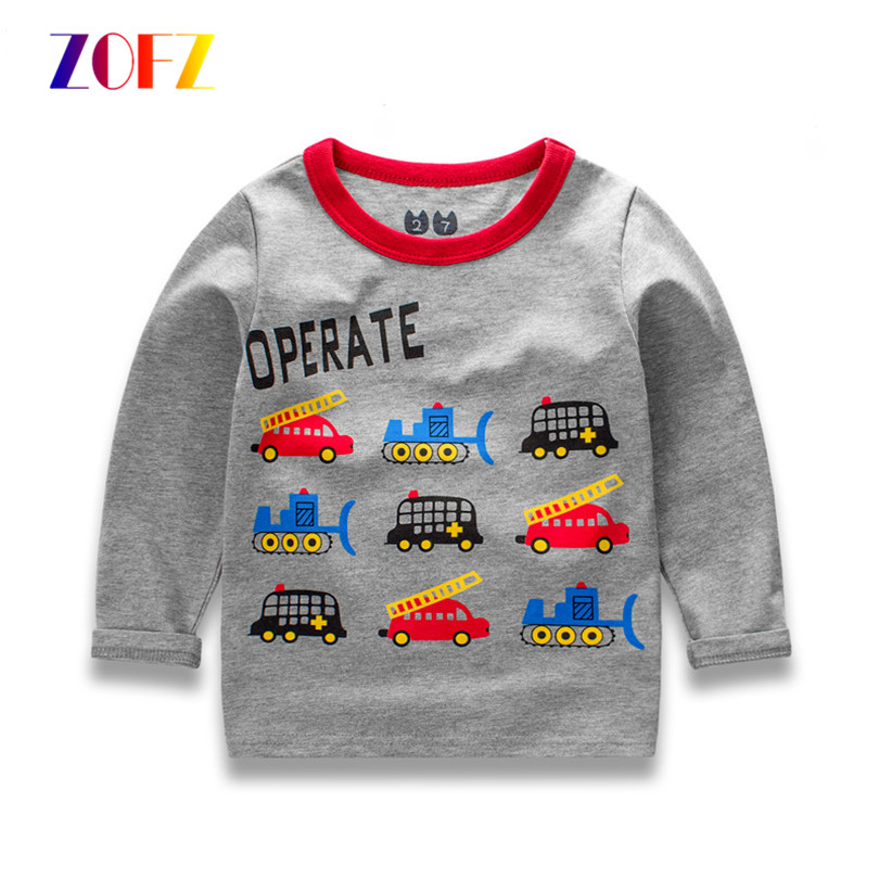 ZOFZ 2017 New children boys clothes Autumn baby boy long sleeves pullover O-Neck cotton Tees printing for Children clothing