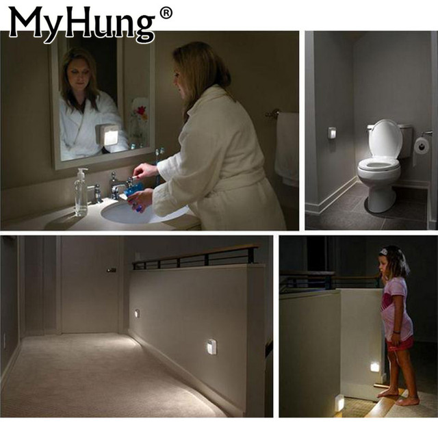 LED Motion Sensor Night Lights Battery Powered Motion Sensing White Night  Light For Bathroom